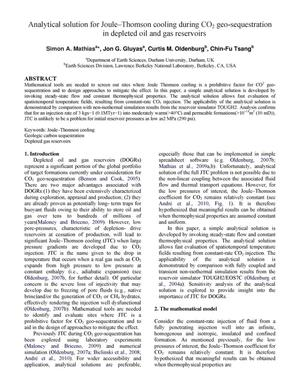 Primary view of object titled 'Analytical solution for Joule-Thomson cooling during CO2 geo-sequestration in depleted oil and gas reservoirs'.