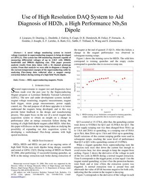 Primary view of object titled 'Use of High Resolution DAQ System to Aid Diagnosis of HD2b, a High Performance Nb3Sn Dipole'.