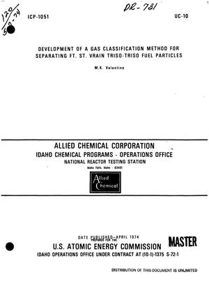 Primary view of object titled 'Development of a gas classification method for separating Ft. St. Vrain TRISO-TRISO fuel particles'.