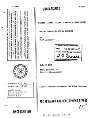 Primary view of object titled 'Metal Hydrides Final Report'.