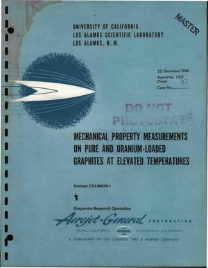 Primary view of object titled 'Measurements of Mechanical Properties of Pure and Uranium-Loaded Graphites at Elevated Temperatures. Final Report for June 27, 1957 Through December 15, 1958'.