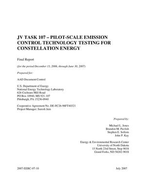 Primary view of object titled 'JV Task 107- Pilot-Scale Emission Control Technology Testing for Constellation Energy'.