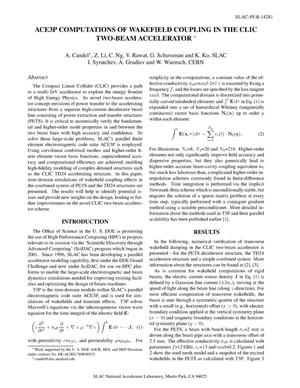 Primary view of object titled 'ACE3P Computations of Wakefield Coupling in the CLIC Two-Beam Accelerator'.