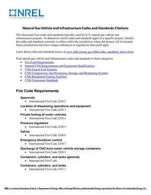 Primary view of object titled 'Natural Gas Vehicle and Infrastructure Codes and Standards Citations (Brochure)'.