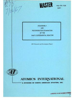 Primary view of object titled 'DISASSEMBLY AND POSTOPERATION EXAMINATION OF THE SNAP 8 EXPERIMENTAL REACTOR.'.