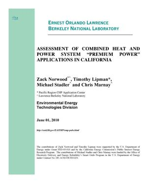 "Primary view of object titled 'ASSESSMENT OF COMBINED HEAT AND POWER SYSTEM""PREMIUM POWER"" APPLICATIONS IN CALIFORNIA'."