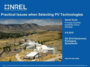 Primary view of object titled 'Practical Issues when Selecting PV Technologies (Presentation)'.