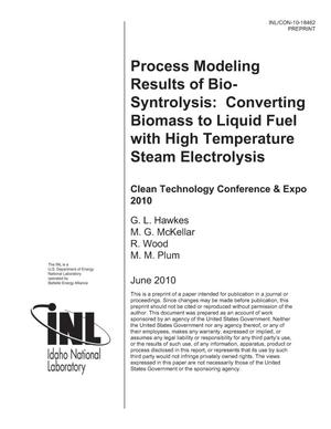 Primary view of object titled 'Process Modeling Results of Bio-Syntrolysis: Converting Biomass to Liquid Fuel with High Temperature Steam Electrolysis'.