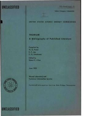 Primary view of object titled 'Thorium: A Bibliography of Published Literature'.