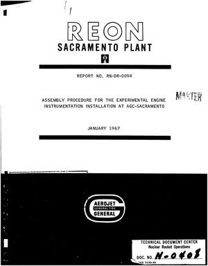 Primary view of object titled 'Assembly procedure for the experimental engine instrumentation installation at AGC-Sacramento'.