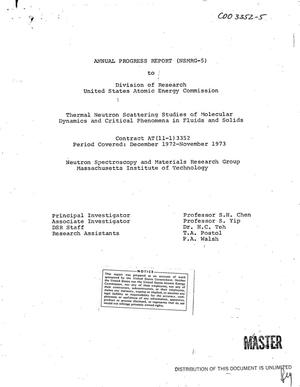 Primary view of object titled 'Thermal neutron scattering studies of molecular dynamics and critical phenomena in fluids and solids. Annual progress report, December 1972--November 1973'.