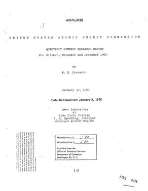 Primary view of object titled 'QUARTERLY SUMMARY RESEARCH REPORT FOR OCTOBER, NOVEMBER, AND DECEMBER 1950'.