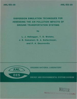 Primary view of object titled 'Dispersion simulation techniques for assessing the air pollution impacts of ground transportation systems'.