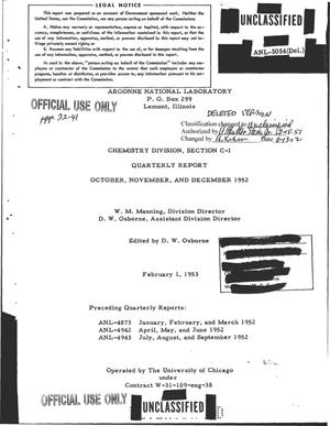 Primary view of object titled 'CHEMISTRY DIVISION, SECTION C-I QUARTERLY REPORT FOR OCTOBER, NOVEMBER, AND DECEMBER 1952'.