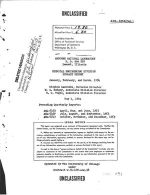 Primary view of object titled 'CHEMICAL ENGINEERING DIVISION SUMMARY REPORT FOR JANUARY, FEBRUARY, AND MARCH 1954'.