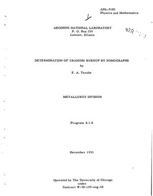 Primary view of object titled 'DETERMINATION OF URANIUM BURNUP BY NOMOGRAPHS'.
