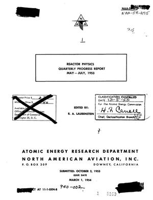 Primary view of object titled 'Reactor Physics Quarterly Progress Report for May-July 1953'.