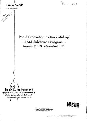 Primary view of object titled 'Rapid excavation by rock melting. LASL subterrene program, December 31, 1972--September 1, 1973'.