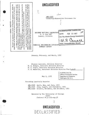 Primary view of object titled 'CHEMICAL ENGINEERING DIVISION SUMMARY REPORT FOR JANUARY, FEBRUARY, AND MARCH 1956'.