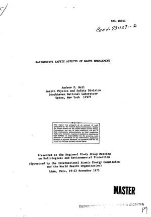 Primary view of object titled 'Radioactive safety aspects of waste management'.