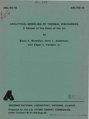 Primary view of object titled 'Analytical modeling of thermal discharges. A review of the state of the art'.