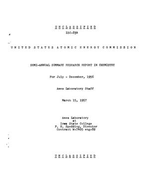 Primary view of object titled 'Semi-Annual Summary Research Report in Chemistry for July-December 1956'.