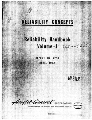 Primary view of object titled 'Aerojet-General Corporation reliability handbook. Volume I. Concepts'.