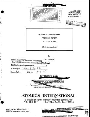 Primary view of object titled 'SNAP reactor programs. Progress report, May--July 1968'.