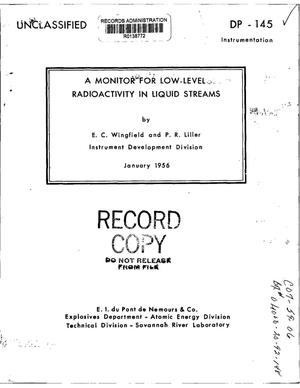 Primary view of object titled 'A Monitor for Low-Level Radioactivity in Liquid Streams'.