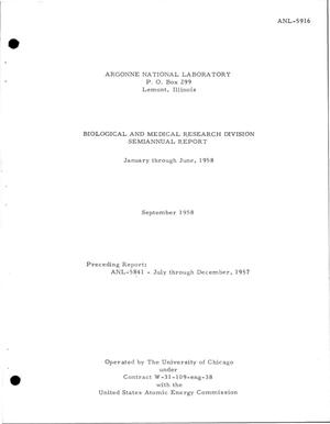 Primary view of object titled 'BIOLOGICAL AND MEDICAL RESEARCH DIVISION SEMIANNUAL REPORT FOR JANUARY THROUGH JUNE 1958'.
