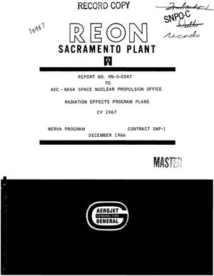 Primary view of object titled 'Radiation effects program plans CY 1967'.