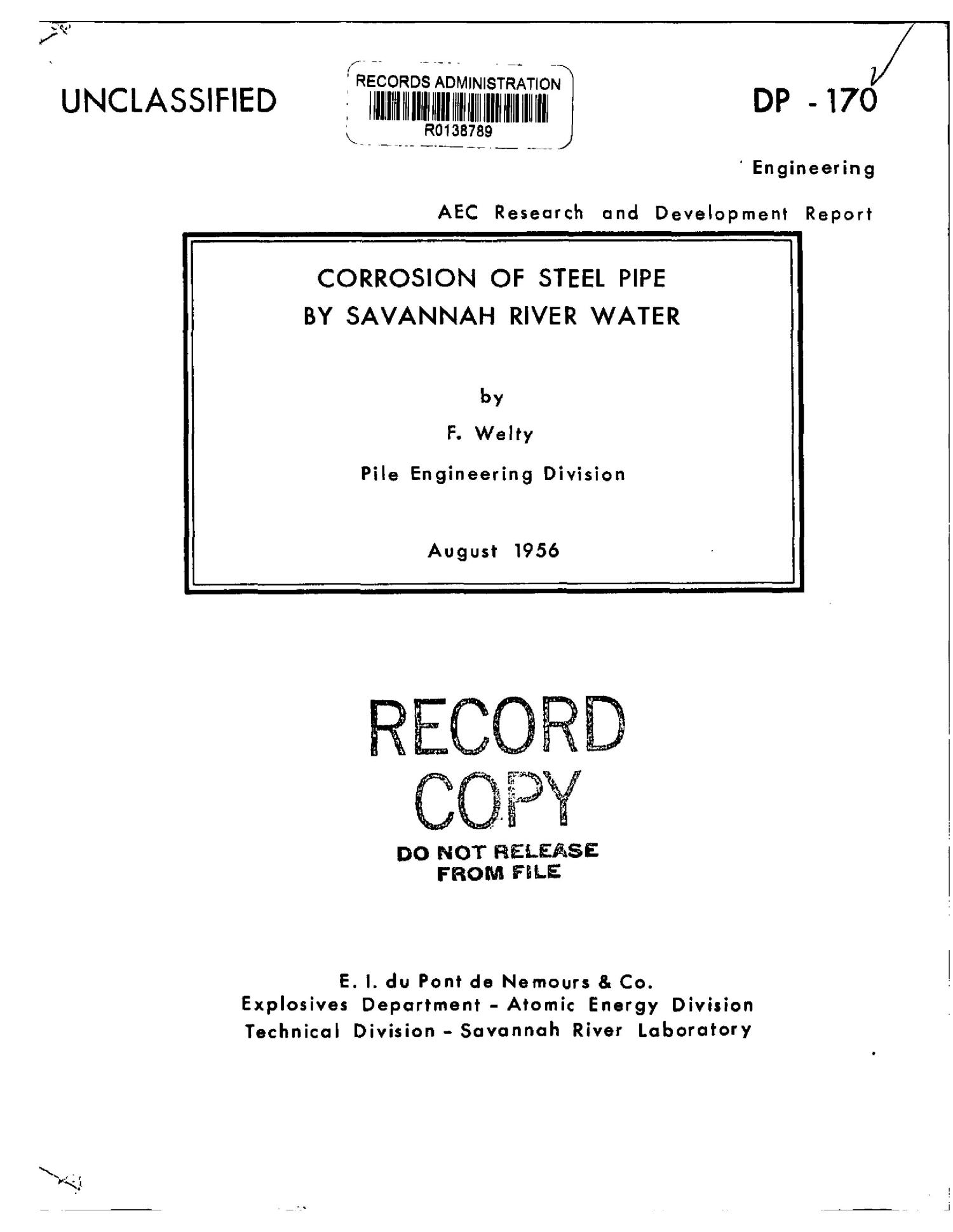 CORROSION OF STEEL PIPE BY SAVANNAH RIVER WATER                                                                                                      [Sequence #]: 1 of 17