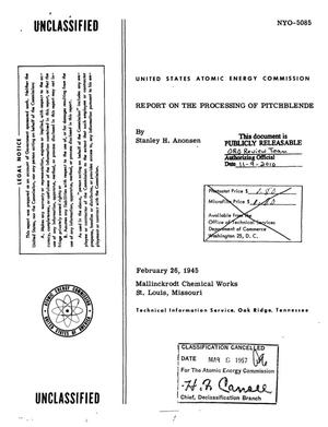 Primary view of REPORT ON THE PROCESSING OF PITCHBLENDE