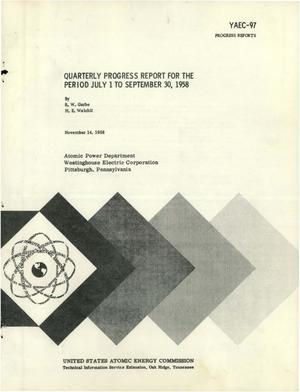 Primary view of object titled 'Quarterly Progress Report for the Period July 1 to September 30, 1958'.