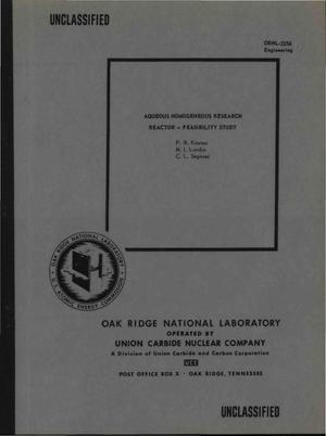 Primary view of object titled 'AQUEOUS HOMOGENEOUS RESEARCH REACTOR--FEASIBILITY STUDY'.