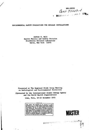 Primary view of object titled 'Environmental safety evaluations for nuclear installations'.