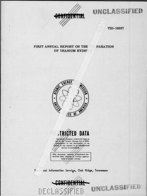 Primary view of object titled 'First Annual Report on the Preparation of Uranium Hydride'.