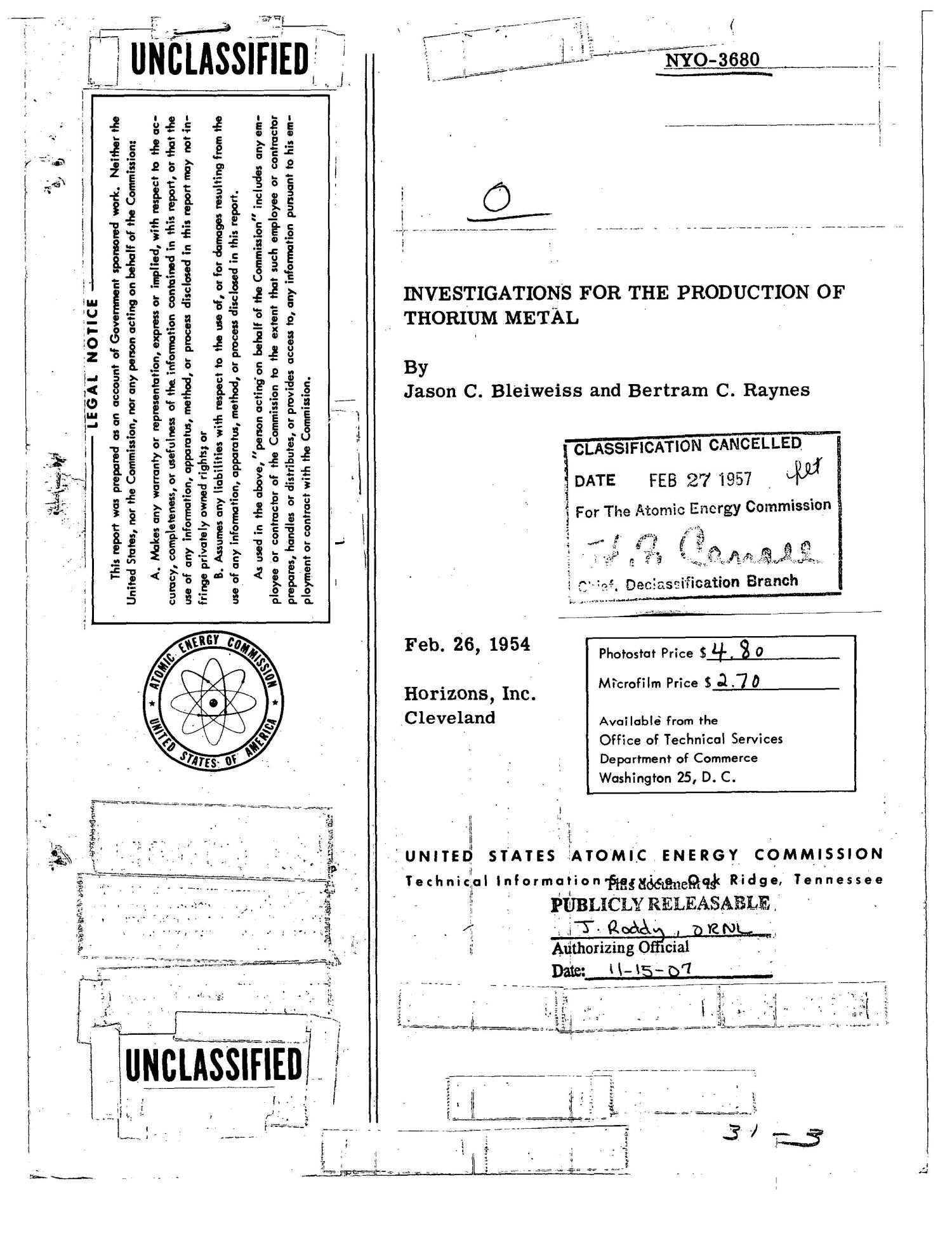 INVESTIGATIONS FOR THE PRODUCTION OF THORIUM METAL. Technical Progress Report for Seventh Quarter, December 1, 1953 to February 28, 1954                                                                                                      [Sequence #]: 1 of 24