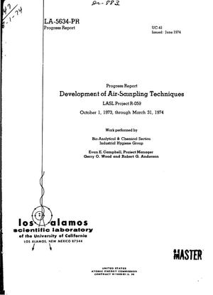 Primary view of object titled 'Development of air-sampling techniques. LASL Project R-059. Progress report, October 1, 1973--March 31, 1974'.