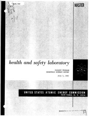 Primary view of object titled 'FALLOUT PROGRAM QUARTERLY SUMMARY REPORT, MARCH 1, 1967--JUNE 1, 1967.'.