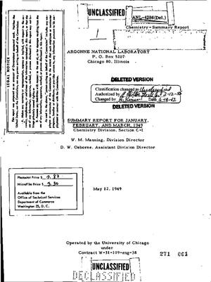 Primary view of object titled 'CHEMISTRY DIVISION, SECTION C-1 SUMMARY REPORT FOR JANUARY, FEBRUARY, AND MARCH 1949'.