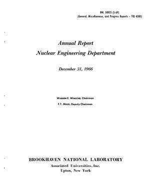 Primary view of object titled 'NUCLEAR ENGINEERING DEPARTMENT ANNUAL REPORT, DECEMBER 31, 1966.'.