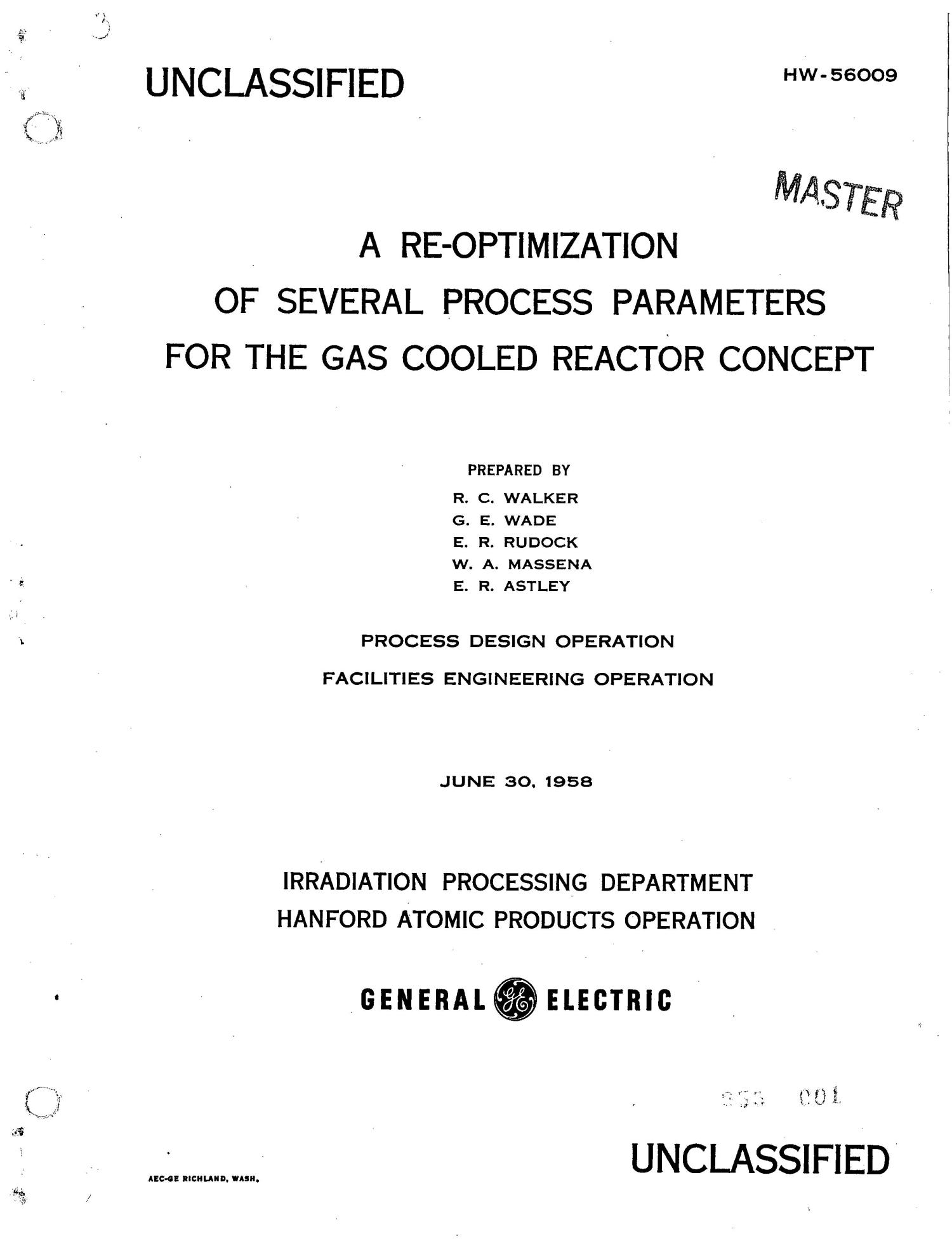 A Re-Optimization of Several Process Parameters for the Gas Cooled Reactor Concept                                                                                                      [Sequence #]: 1 of 96