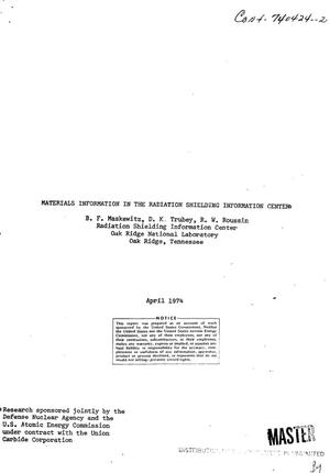Primary view of object titled 'Materials information in the Radiation Shielding Information Center'.