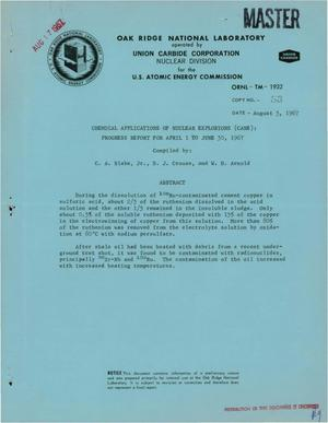 Primary view of object titled 'Chemical Applications of Nuclear Explosions (CANE). Progress Report, April 1--June 30, 1967.'.