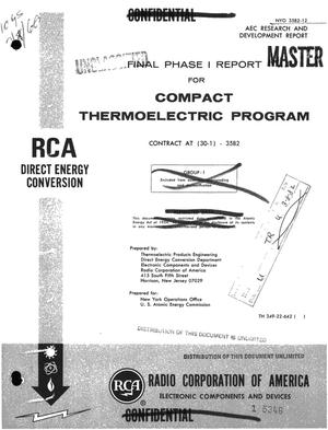 Primary view of object titled 'Compact thermoelectric program. Final Phase I report. Period covered, June 28, 1965--December 31, 1965'.