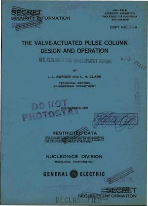 Primary view of object titled 'THE VALVE-ACTUATED PULSE COLUMN DESIGN AND OPERATION'.