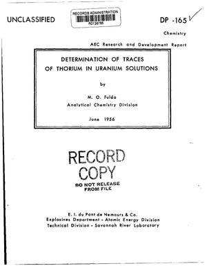 Primary view of object titled 'DETERMINATION OF TRACES OF THORIUM IN URANIUM SOLUTIONS'.
