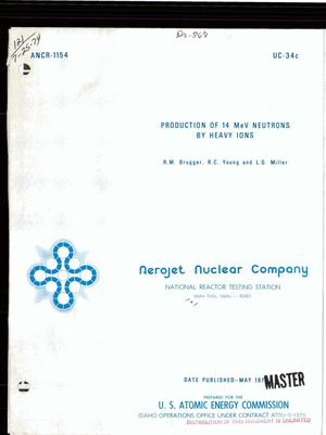 Primary view of object titled 'Production of 14-MeV neutrons by heavy ions'.