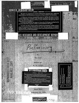 Primary view of object titled 'Preliminary Safety Evaluation of the Sodium Reactor Experiment'.